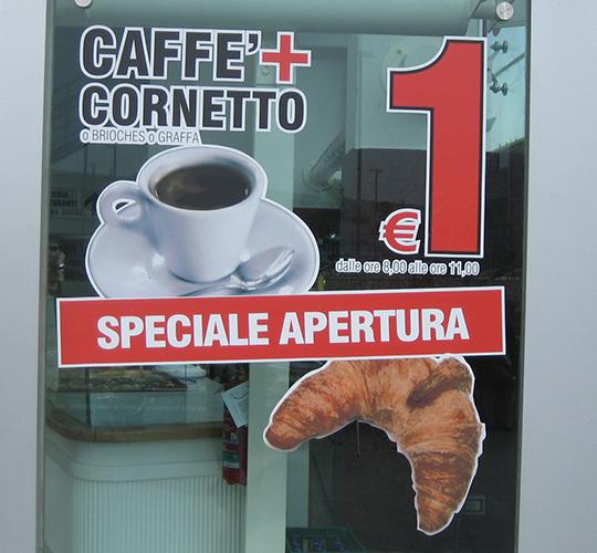 adesivi vetrine caffè imprint